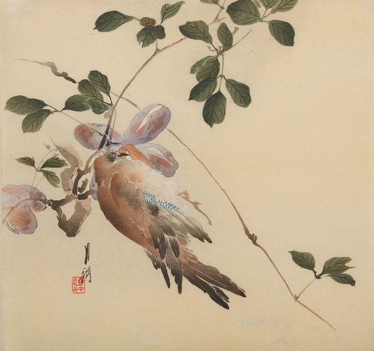Shiko, Ptak na gałęzi z fioletowymi owocami, XIX/XX w. #birds #ptaki #kolekcjaMNK #MNKcollection #kolekcja