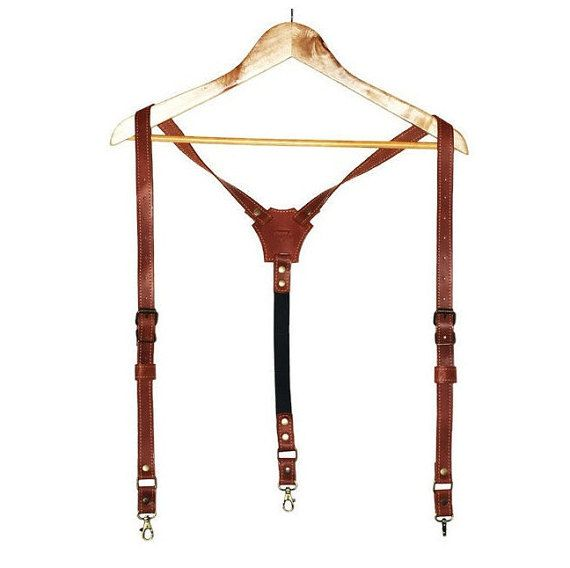 Personalized  leather suspenders men's suspenders by theOneBee