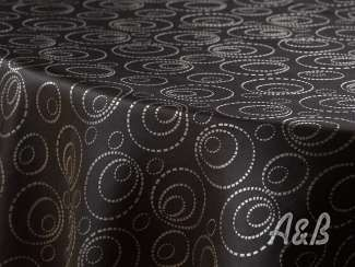Black and White Sphere Tablecloth - 120'' Round (floor length on 30'' Round Cocktail Tables)