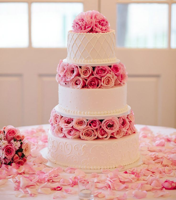 sweet pink wedding cake; photo: Mary Costa Photography