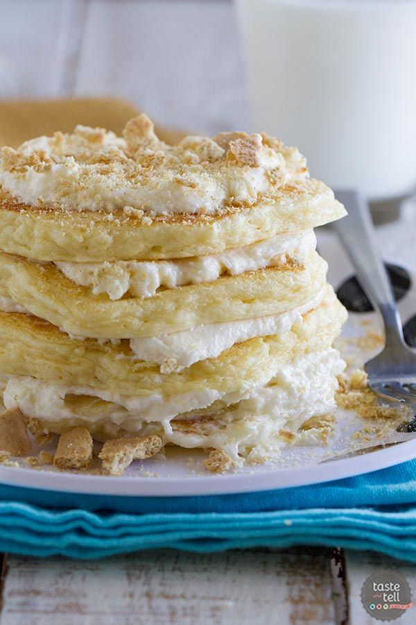 Cheesecake Pancakes - Topped with a cream cheese frosting and graham cracker crumbs for a fun and delicious treat!