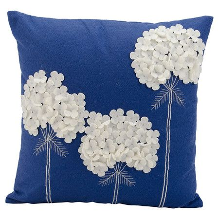 Lend a pop of pattern to your sofa or arm chair with this charming handmade pillow, showcasing a blooming floral motif in navy.  Pro...