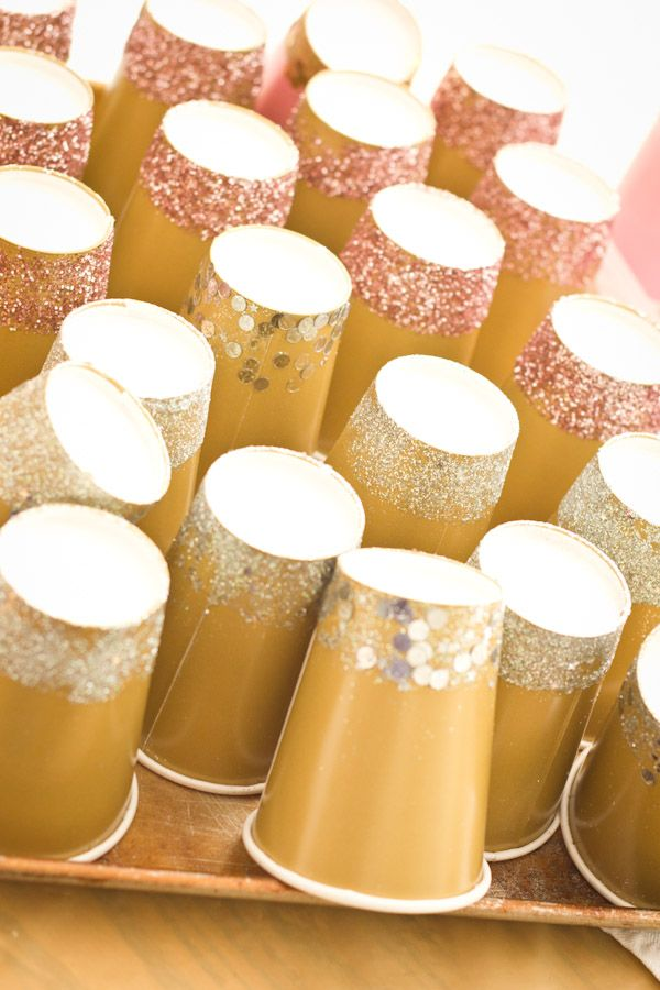 Make paper cups special by glittering the bottom end with glitter or chunky confetti.
