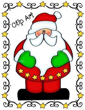 Star Santa Clip Art Kit ~ Commercial Use Welcome! Includes line art too!