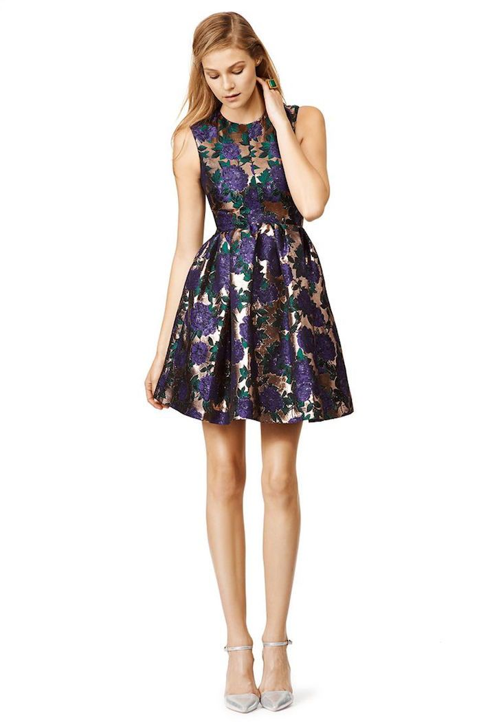 Love the purple floral pattern of this shot cocktail dress; MSGM