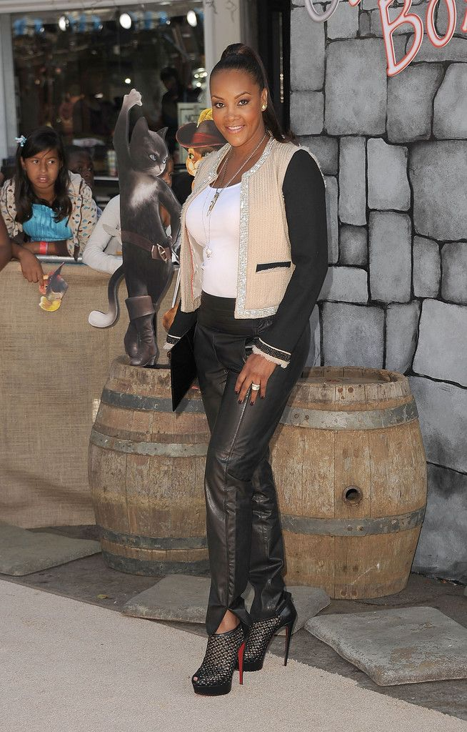 Vivica A. Fox Ankle Boots - Vivica A. Fox took the red carpet at the 'Puss in Boots' premiere in leather pants paired with black ankle booties.