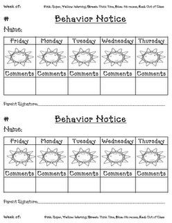 A daily behavior log to send home for parents to sign off on. Great visual for students, but also a great easy way to keep in contact with parent as well