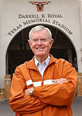 Darrell K Royal (born July 6, 1924) is a former American football player and coach. He was the head coach at Mississippi State University, the University of Washington, and the University of Texas at Austin. In his years at Texas, his teams won three national championships (1963, 1969, 1970).     Picture from:  http://knottveryquiet.blogspot.de/2009/01/it-was-andersons-last-night-here-in.html