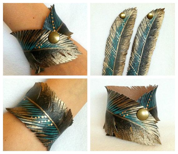 Feather Cut Cuff Gold Turquoise Feather Half by AshleyAnnBennett, $26.00