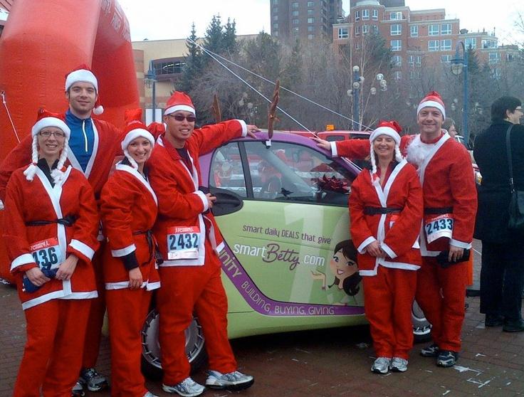Smart Betty and a team of Running Santas for the Run Santa Run Marathon