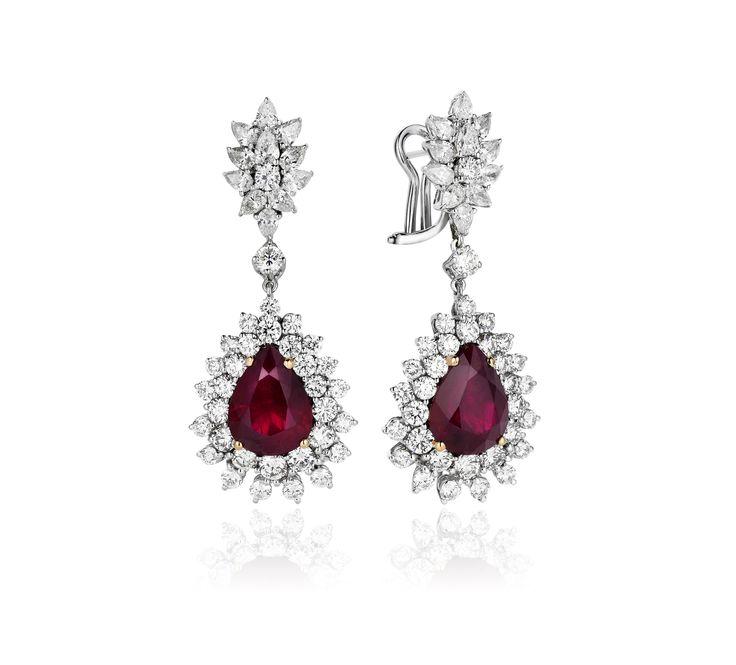 Untreated Natural Burmese Ruby Earring