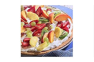 Figure it out with Greek Yogurt for more protein! Maybe use English Muffins instead.- Breakfast Fruit Pizza