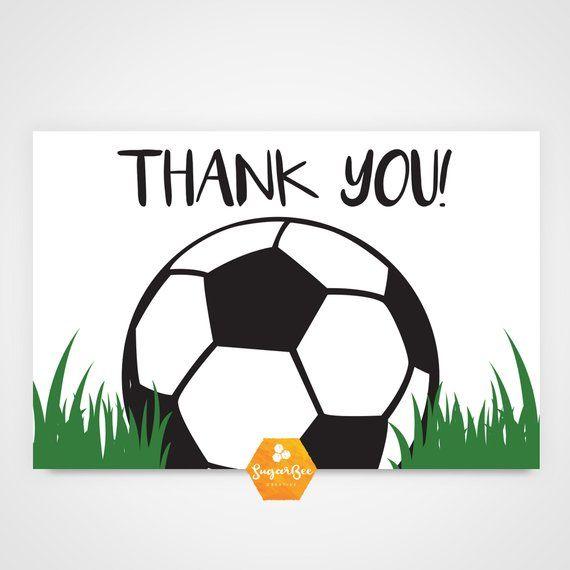 Matching Soccer Thank You Card Soccer Printable Thank You Card Soccer Birthday Printable Soccer Birthday Card Printable Funny Birthday Cards Soccer Birthday