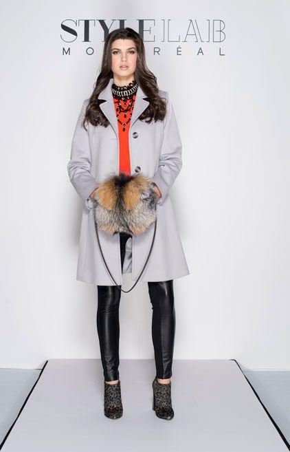 #LOTD by #imalittle.  Dove Grey Loro Piana Wool coat by #Mallia / Black bib necklace with jet glass and rhinestone #JewelleryByKaren / Canadian Cross Fox muff – #LUNAFURS / Top and pants - #TedBaker