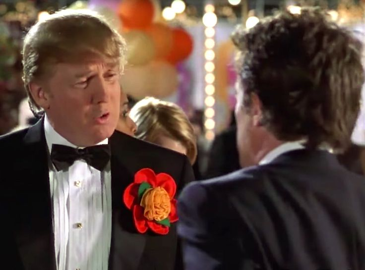 Two Weeks Notice from Donald Trump Cameos in Movies and on TV  Just a couple of rich New Yorkers needling each other at a cocktail party before Hugh Grant is swept off his feet by Sandra Bullock.