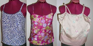 These cami tops are easy to put together. Butterick 4989 http://www.cleverthinking99.com/2013/01/jungle-cami-butterick-4989.html