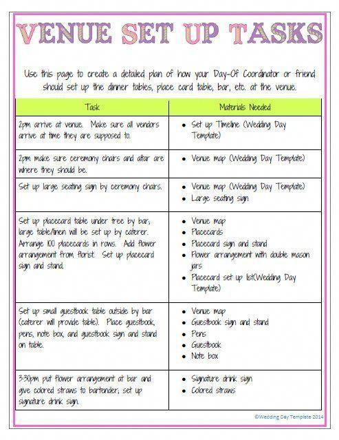 New Color Printable Editable Wedding Day By Weddingdaytemplate Organization Planner Planning Printableweddingplanner