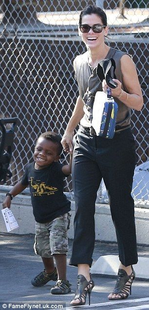 Sandra Bullock and her son, Louis