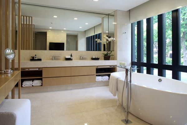 One Tree Hill House in Singapore by ONGandONG - Love the vanity design