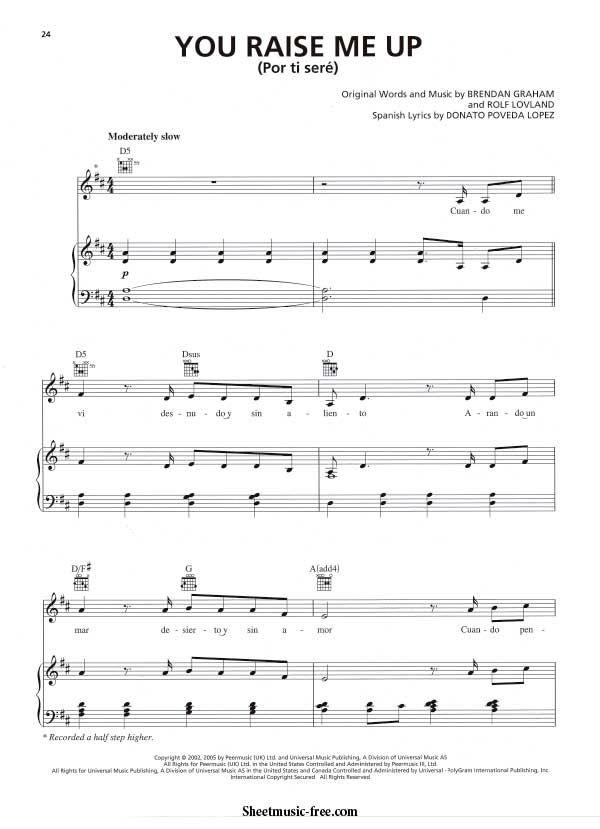 You Raise Me Up Sheet Music Il Divo Download You Raise Me ...