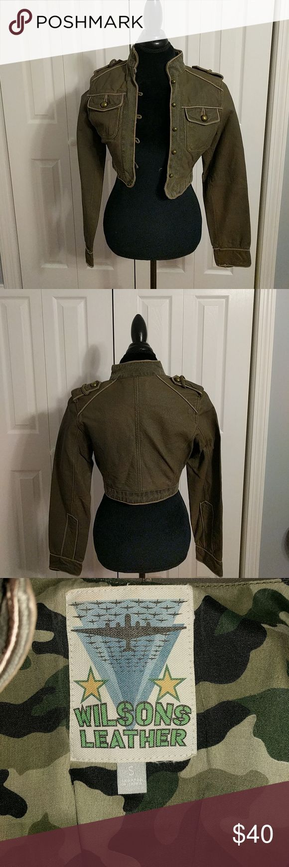 Leather Jacket Army Green leather jacket. Camo trim on the inside. Genuine leather. Worn once Wilsons Leather Jackets & Coats Blazers