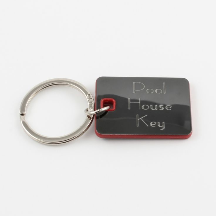Rectangular Keychain - Red with Black Metal- This keychain is versatile and is great for anyone. Engrave a name or special message on both sides to make it one of a kind.