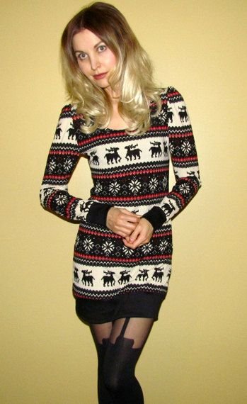 Not into the tights, but I'm kinda loving this moose sweater dress.