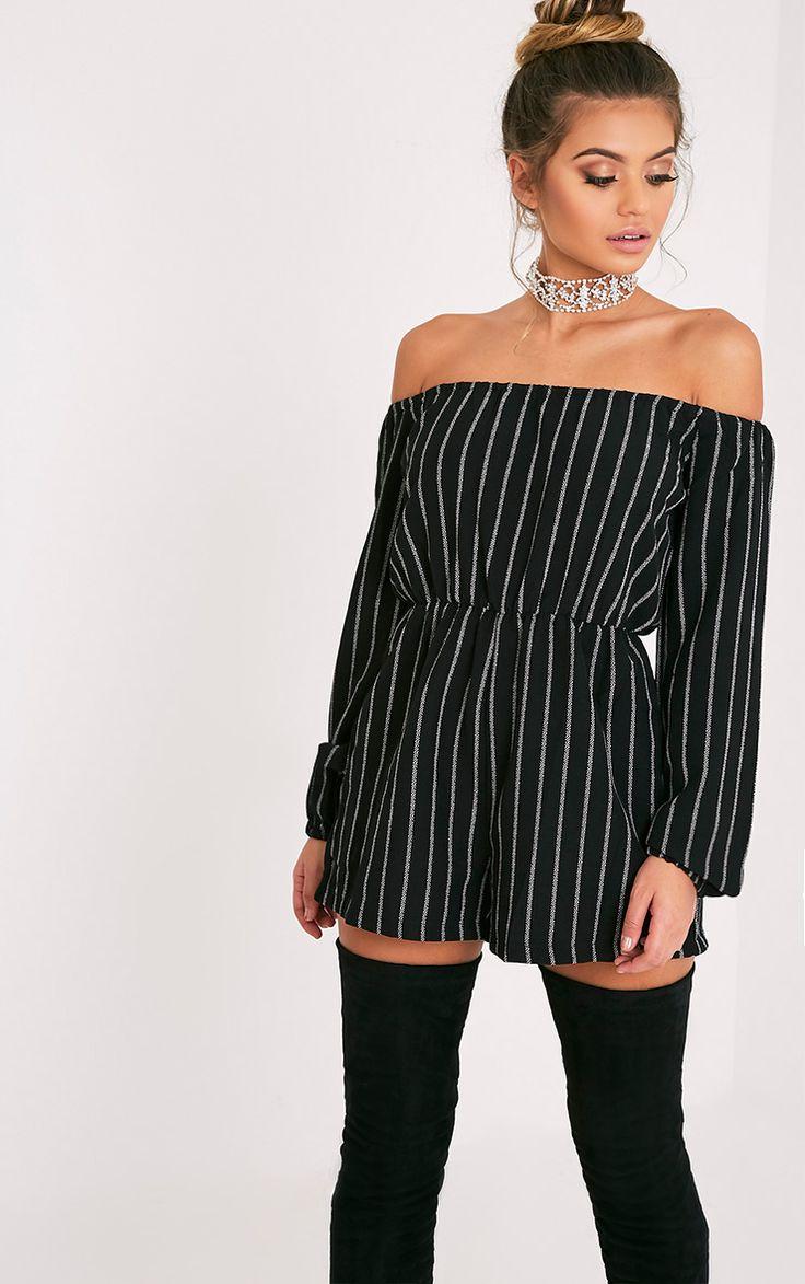 Kennie Monochrome Striped Bardot Playsuit