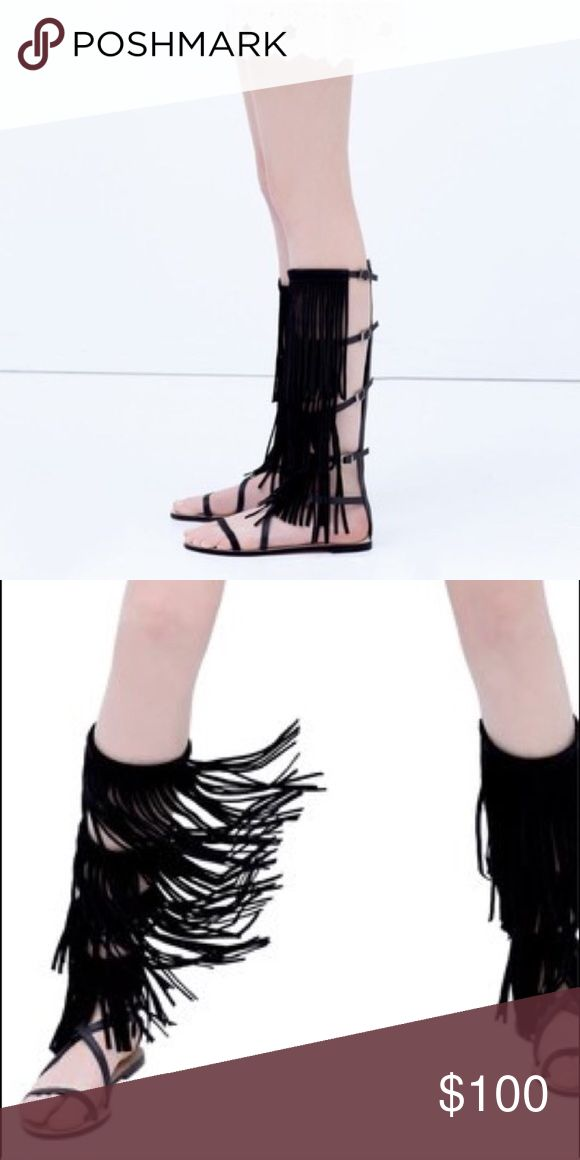 Zara fringe sandals Create a wow-outfit instantly with these fringed gladiator sandals, used once Zara Shoes