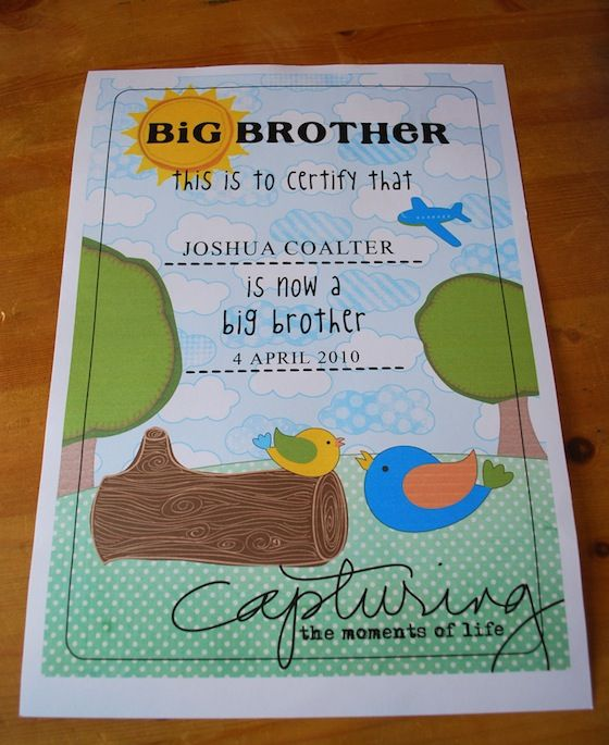 Big Brother Certificate (for his room) & Tool Kit