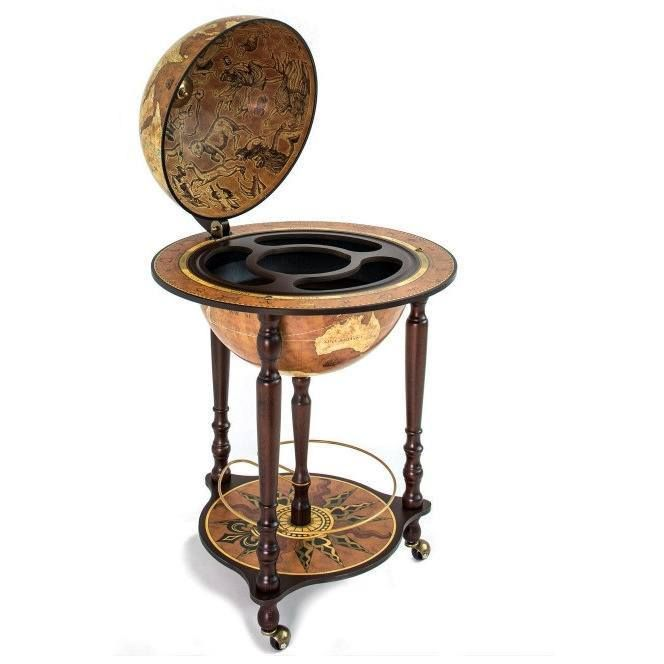 "Zoffoli ""Da Vinci"" Floorstanding Globe Drinks Cabinet On Wheels - Rust"
