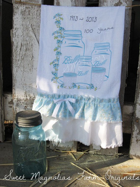 flour sack kitchen towel our new design celebrating 100 yrs of ball jars by sweetmagnoliasfarm - Kitchen Towels New Design