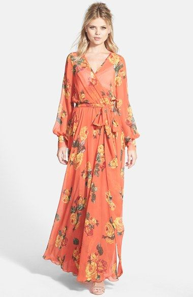 Free shipping and returns on Dirty Ballerina Long Sleeve Maxi Dress at Nordstrom.com. A wrap-front maxi dress patterned in a cheerful floral motif is styled with full-length sleeves and secured at the waist with a kimono-inspired sash.