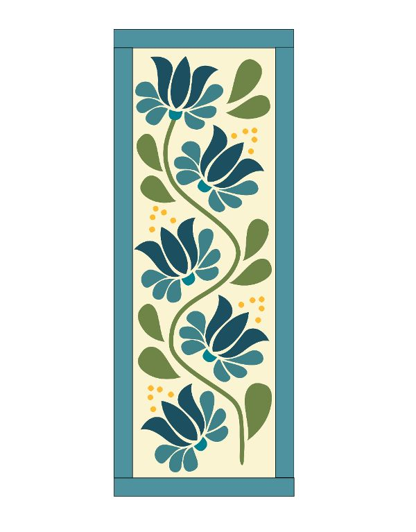 I love this pattern.. It is just a simple table runner pattern with appliqued flowers, but it is the exact colors I love!