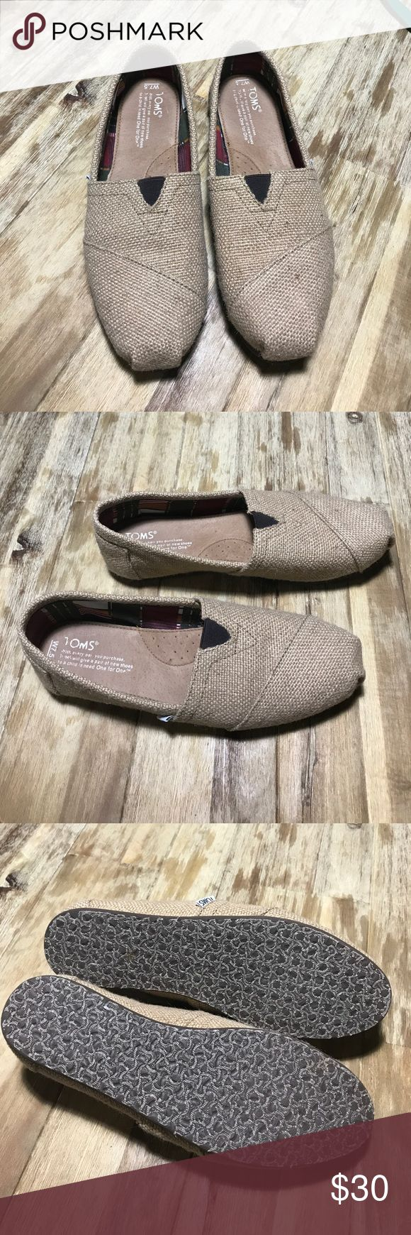 Size 7.5 woman's burlap Toms! Cute burlap Toms! Worn a couple of times. In great condition. Toms Shoes Flats & Loafers