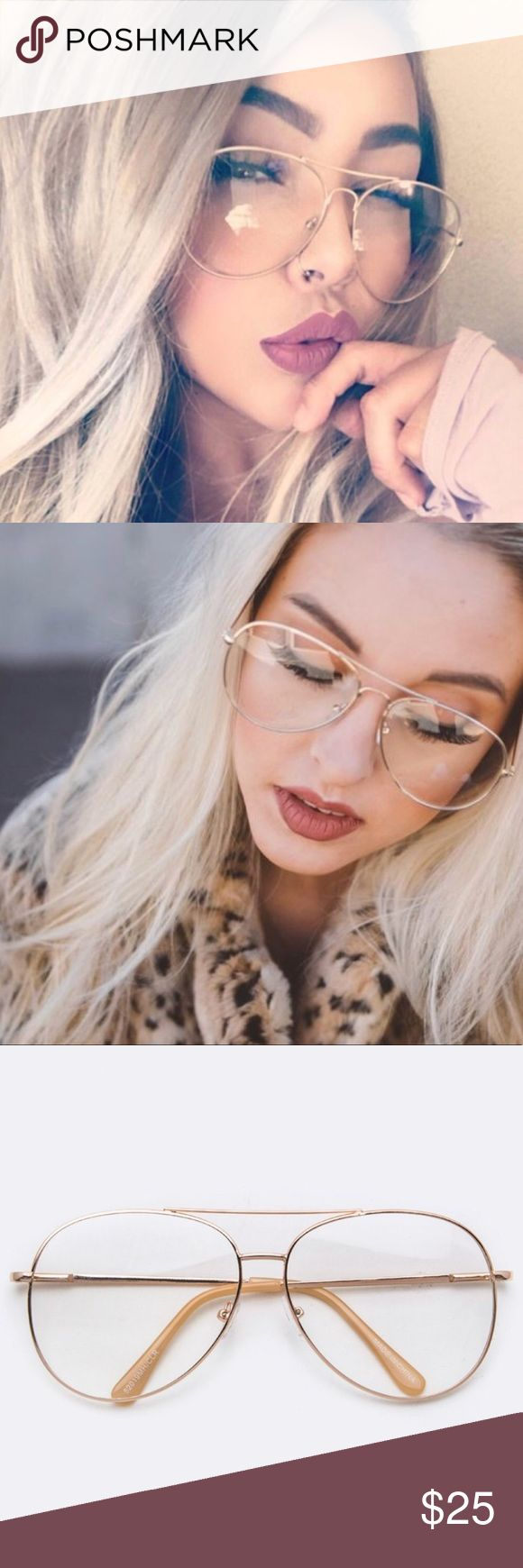 20% OFF 2+trendy gold aviator glasses clear lens Adorable clear lens with gold frame aviators WILA Accessories Sunglasses