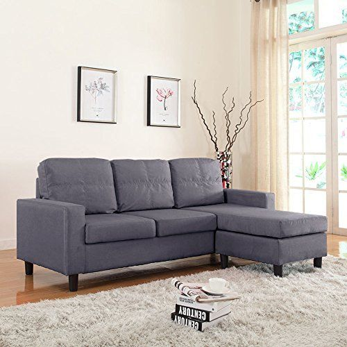 Modern Small Space Reversible Linen Fabric Sectional Sofa (Dark Grey)