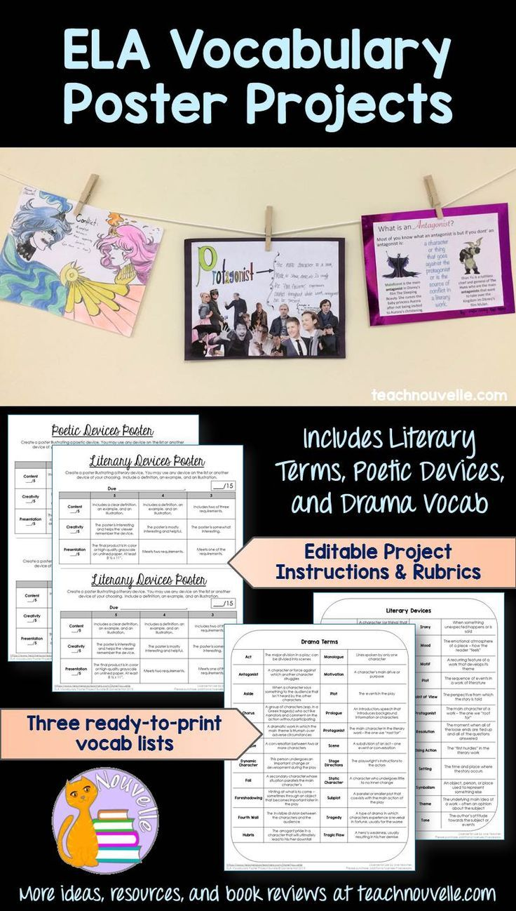 $ Students design posters for literary terms, drama vocabulary, and poetic devices. Each poster includes a definition, example, and illustration to show understanding of a vocabulary term. This is an easy-to-implement project that will let student creativity flow! Includes editable instructions and rubrics, and three print-and-go vocabulary lists. (grades 6-12)