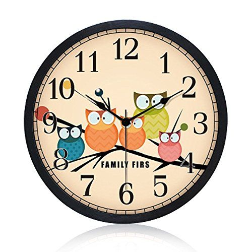 Gkwet Silent Kids Black Wall Clock Non Ticking 12 Inch Excellent Accurate  Sweep Movement Modern Decorative