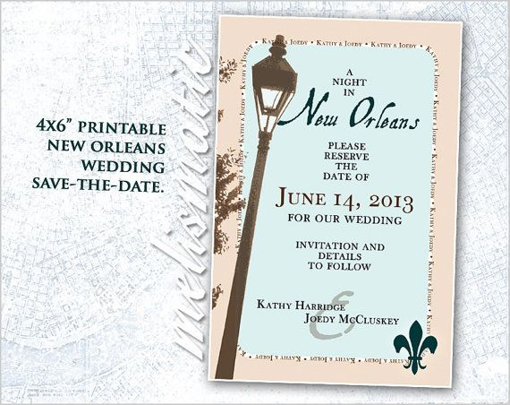 Wedding Invitations New Orleans: New Orleans At Night Printable Save The Date Wedding By
