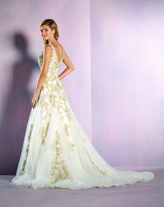 Romantic Gold Details On The Rapunzel Inspired Wedding Dress From 2016 Disneys Fairy Tale Weddings