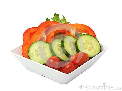 Salad of fresh vegetables In white cup on white background