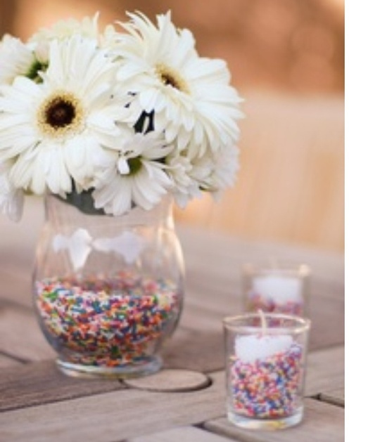 Easy inexpensive beautiful centerpieces! take a clear vase. Add your favorite Scent/color Pink Zebra Sprinkles.  Get your Sprinkles FREE, host a online , catalog to go or in home party! Ground floor company! Support American soy farmers. Join my pink zebra team !! http://zebracandlesprinkles.com