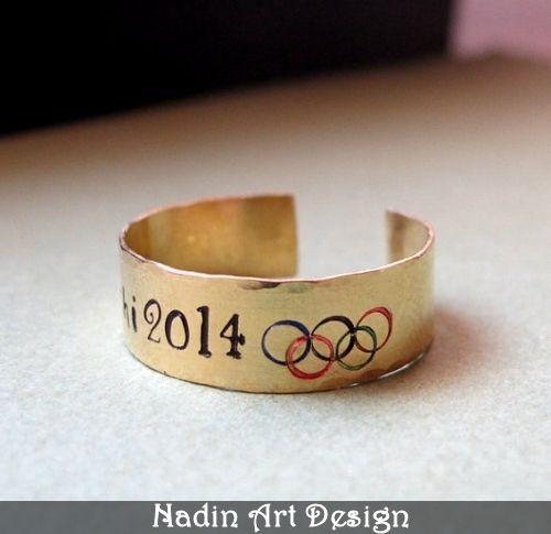 Olympischen Ring. Ring mit Gravur. Einstellbar von NadinArtDesign auf DaWanda.com