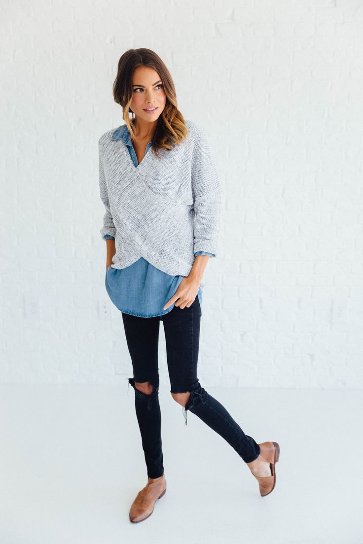 Pullover Overlap Sweater in Heathered Grey