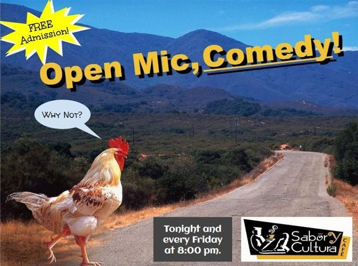 "Join us TONIGHT for our weekly open mic event - ""Open Night, Comedy"". The fun starts tonight at 8:00 pm, and interested comics are invited invited to sign up at 7:45 pm."