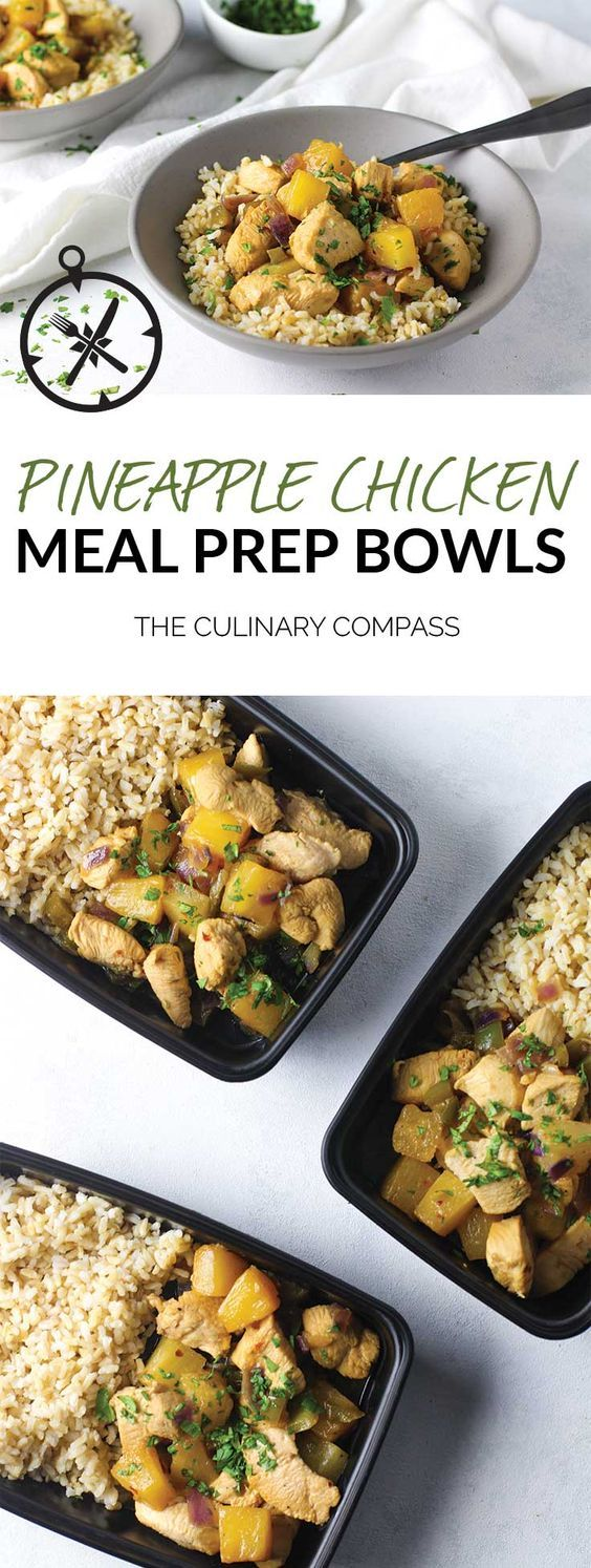 These Pineapple Chicken Meal Prep Bowls are flavorful and perfect to prep for the week! via @culinarycompass
