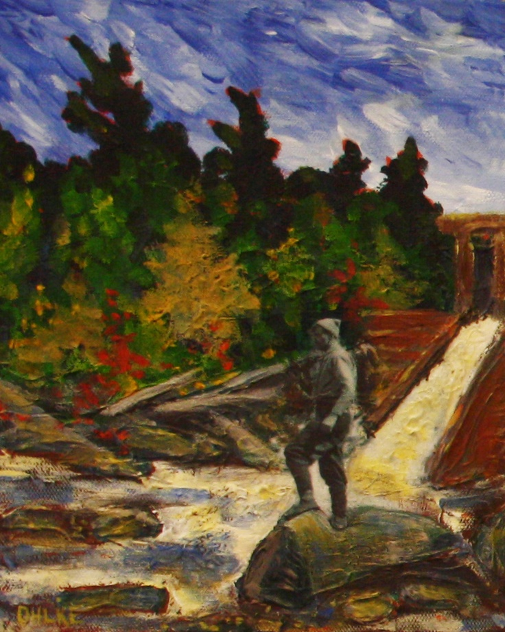 Fishing Expedition to Tea Lake Dam - Tom Thomson in Algonquin Park - Mixed Media on Canvas  Katie Ohlke