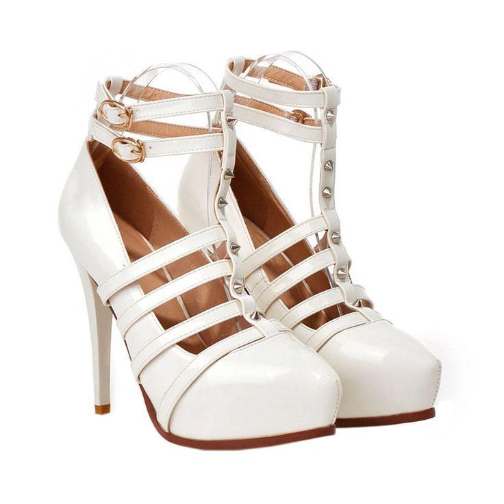 Plus Size Platform Thin Shoes Night Club Dancing white