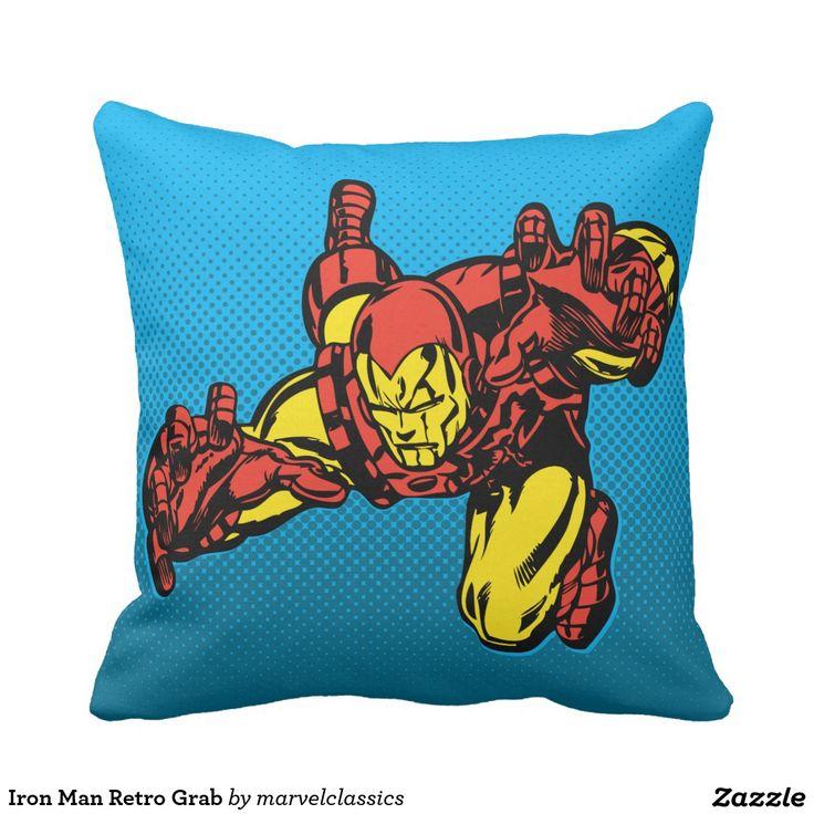 Iron Man Retro Grab Throw Pillow